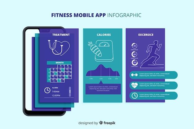 Modelo de infográfico de app móvel de aptidão