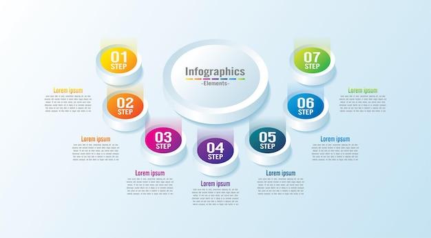 Modelo de infográfico de apresentação de negócios círculo elementos coloridos com 7 etapas