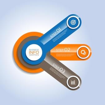 Modelo de infográfico de apresentação de negócios círculo gradiente de elementos coloridos com três etapas