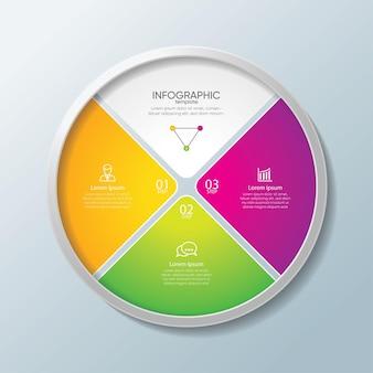 Modelo de infográfico de apresentação de negócios colorido com etapas