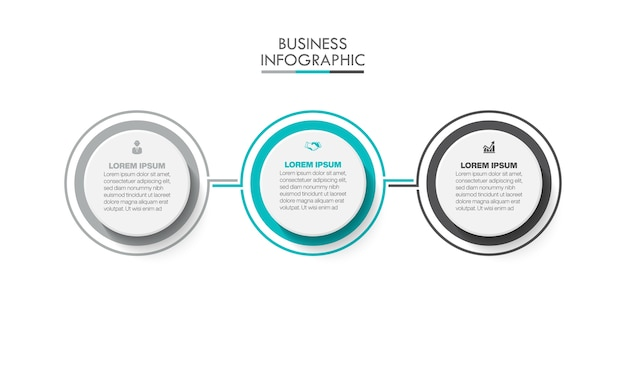 Modelo de infográfico de apresentação de negócios com 3 opções