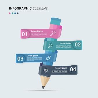 Modelo de infográfico de apresentação de negócios com 4 opções de ilustração vetorial