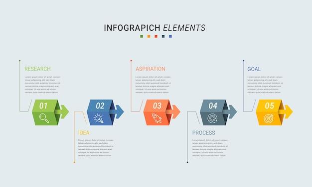 Modelo de infográfico de apresentação de negócios com 5 opções.
