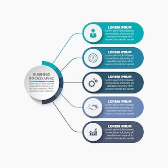 Modelo de infográfico de apresentação de negócios com 5 opções