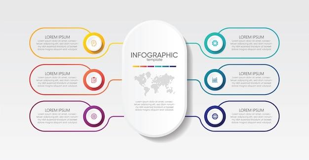 Modelo de infográfico de apresentação de negócios com 6 etapas