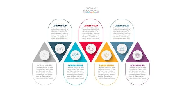 Modelo de infográfico de apresentação de negócios com 7 opções