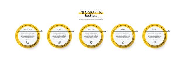 Modelo de infográfico de apresentação de negócios com etapa