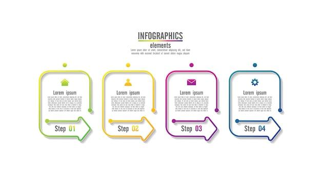 Modelo de infográfico de apresentação de negócios com etapas