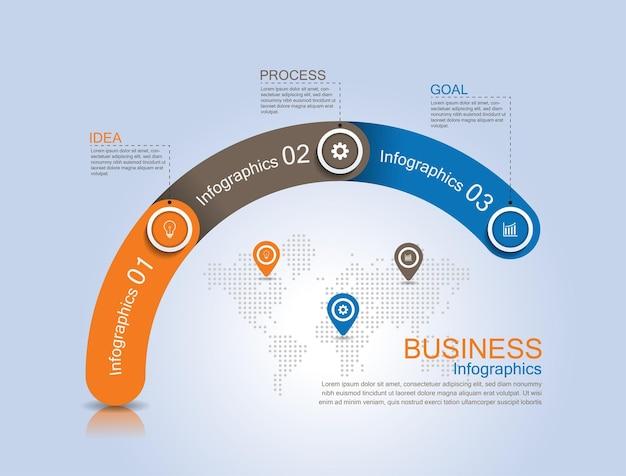 Modelo de infográfico de apresentação de negócios com três etapas
