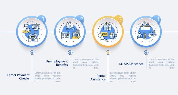 Modelo de infográfico de assistência de aluguel. o pagamento direto verifica os elementos de design da apresentação. visualização de dados em 4 etapas. gráfico de linha do tempo do processo. layout de fluxo de trabalho com ícones lineares