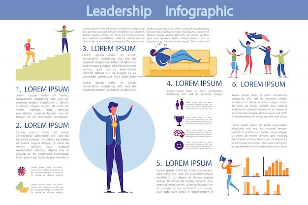 Modelo de infográfico de atividade de liderança e negócios