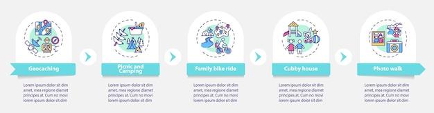 Modelo de infográfico de atividades ao ar livre para a família