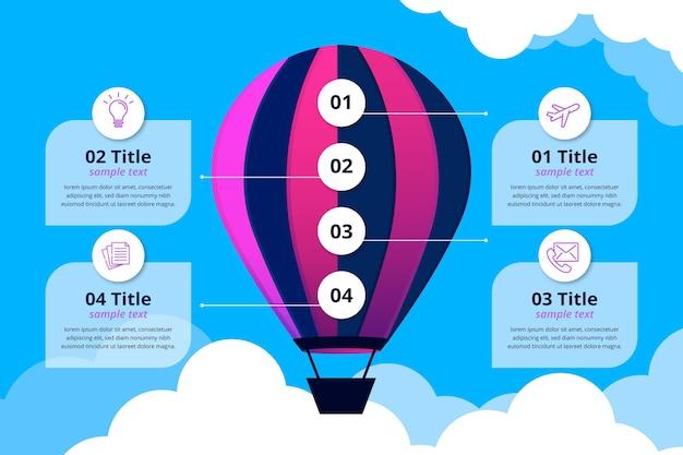 Modelo de infográfico de balão realista