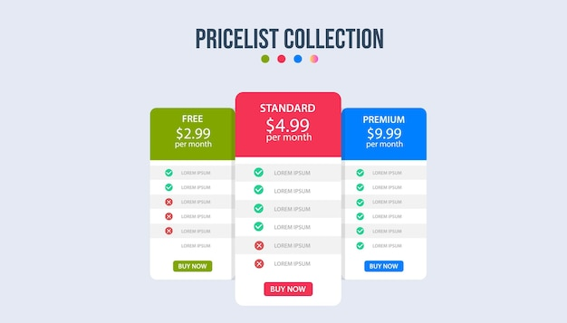 Modelo de infográfico de banners de plano de preços