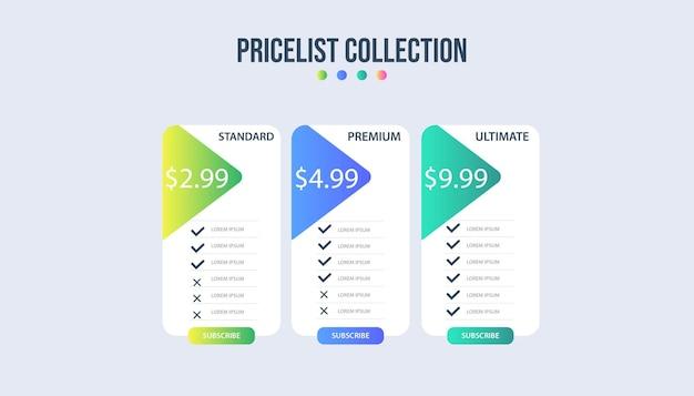 Modelo de infográfico de banners de plano de preços.