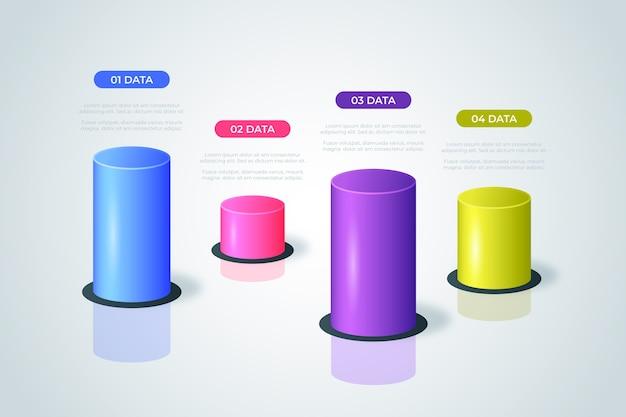 Modelo de infográfico de barras 3d