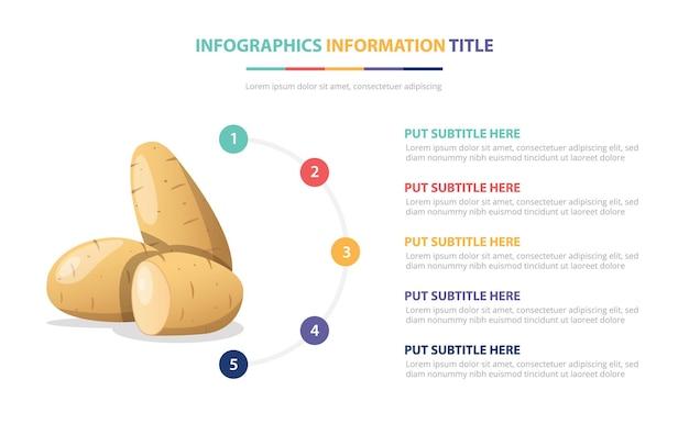 Modelo de infográfico de batatas e vegetais com ilustração de descrição de número