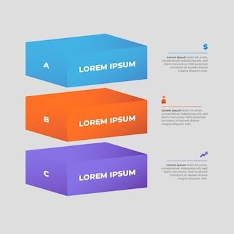 Modelo de infográfico de camadas de bloco