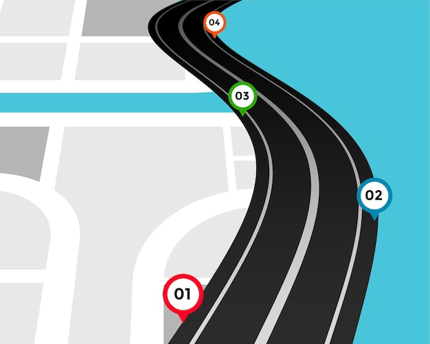 Modelo de infográfico de caminho com marcas de localização