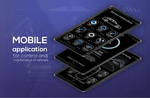Modelo de infográfico de carros de aplicativos móveis com gráficos de estatísticas semanais e anuais de design moderno.