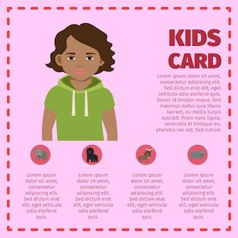 Modelo de infográfico de cartão de crianças com menino