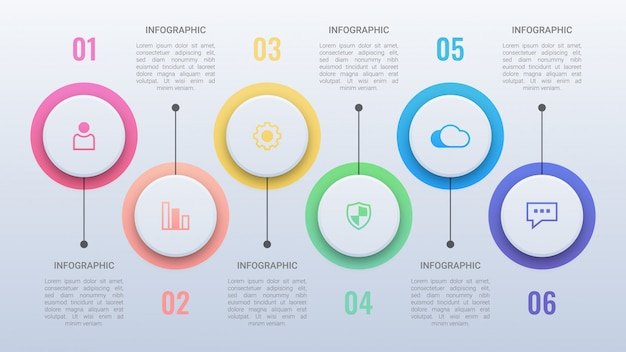 Modelo de infográfico de cinco círculos