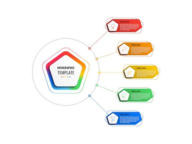 Modelo de infográfico de cinco opções com pentágonos e elementos poligonais em um fundo branco. visualização de processos de negócios modernos com ícones de marketing de linha fina.