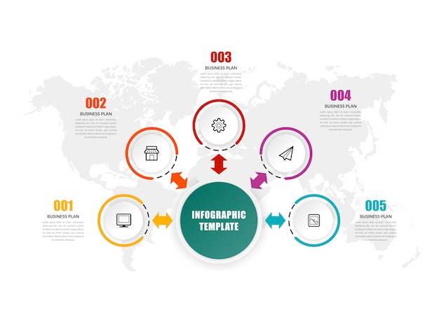 Modelo de infográfico de cinco pontos - estratégia de negócios