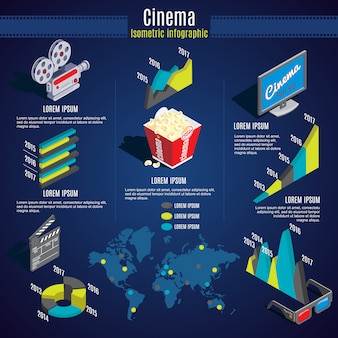 Modelo de infográfico de cinema isométrico