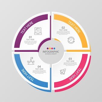 Modelo de infográfico de círculo básico com 4 etapas, processo ou opções, gráfico de processo, usado para diagrama de processo, apresentações, layout de fluxo de trabalho, fluxograma, infografia. ilustração em vetor eps10.