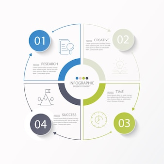 Modelo de infográfico de círculo básico com 4 etapas