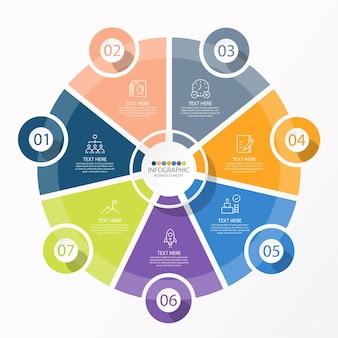 Modelo de infográfico de círculo básico com 7 etapas, processo ou opções