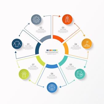 Modelo de infográfico de círculo básico com 7 etapas