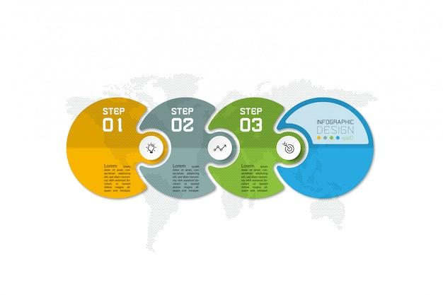 Modelo de infográfico de círculo colorido de 4 etapas.