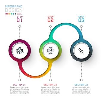Modelo de infográfico de círculo com passo a passo.