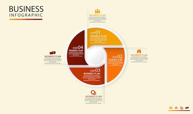Modelo de infográfico de círculo com quatro etapas ou opções. gráfico de processo usado no ensino com um plano de negócios.