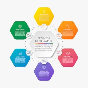Modelo de infográfico de círculo de apresentação comercial.