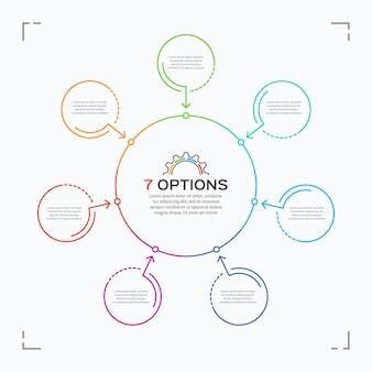 Modelo de infográfico de círculo de estilo minimalista com opções.
