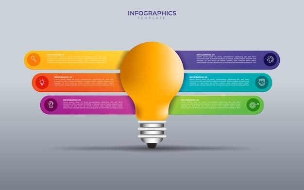 Modelo de infográfico de círculo de lâmpada de ideia de vetor para gráficos, tabelas, diagramas. conceito de negócio com 5 opções, peças, etapas, processos.