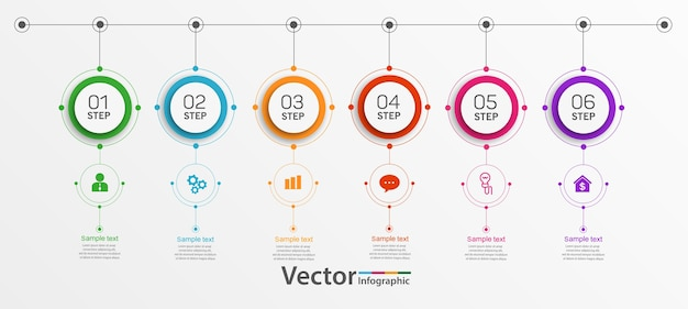 Modelo de infográfico de círculo de negócios com 6 etapas
