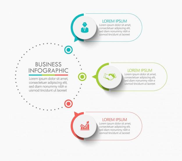Modelo de infográfico de círculo de negócios de apresentação com 3 opções.