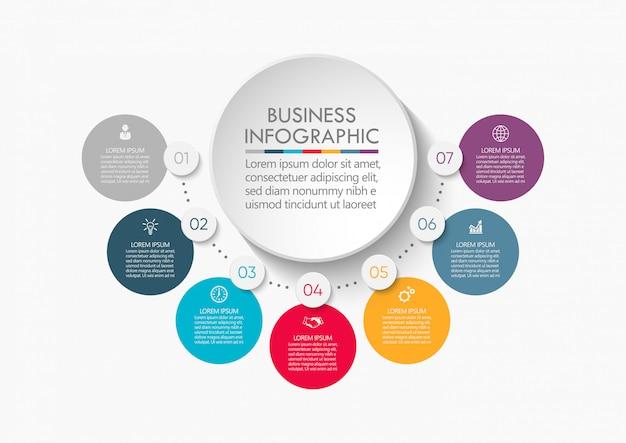 Modelo de infográfico de círculo de negócios de apresentação