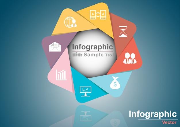 Modelo de infográfico de círculo de vetor para negócios