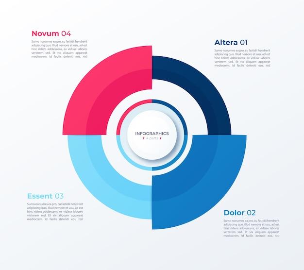 Modelo de infográfico de círculo gráfico de pizza elegante