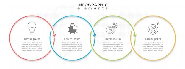 Modelo de infográfico de círculo mínimo de linha do tempo com quatro opções ou etapas.