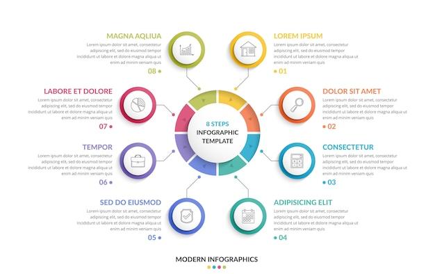 Modelo de infográfico de círculo