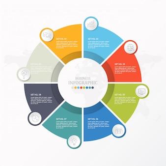 Modelo de infográfico de círculos básicos