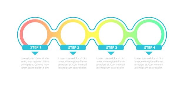 Modelo de infográfico de círculos de gradiente vazio