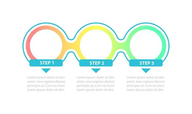 Modelo de infográfico de círculos em branco gradiente