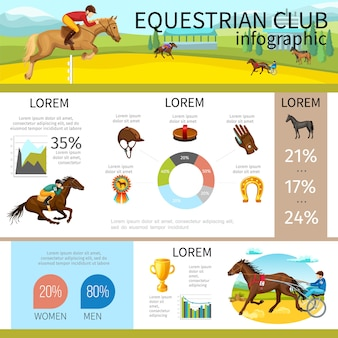 Modelo de infográfico de clube equestre dos desenhos animados com jóqueis, montando cavalos boné luva ferradura medalha escova diagrama gráficos